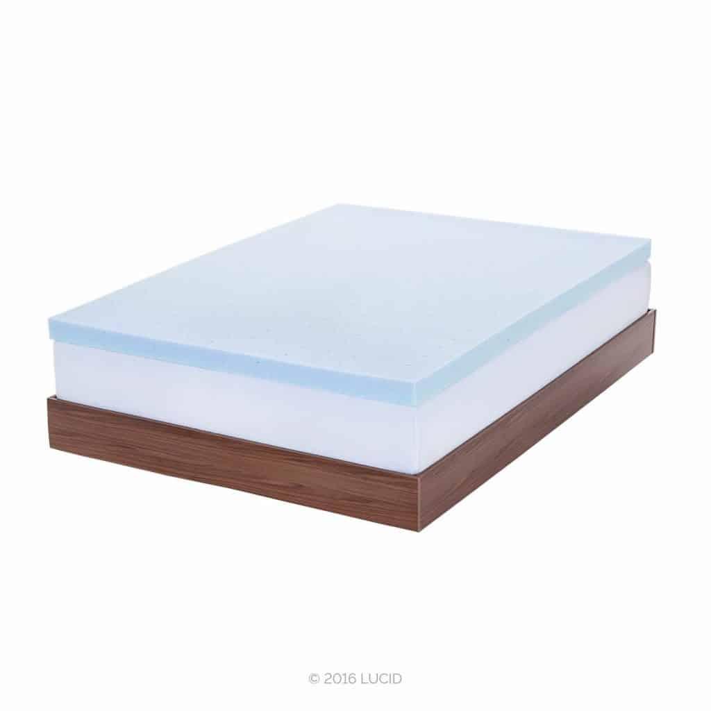 6. LUCID 3 Inch Ventilated Memory Foam Mattress Topper