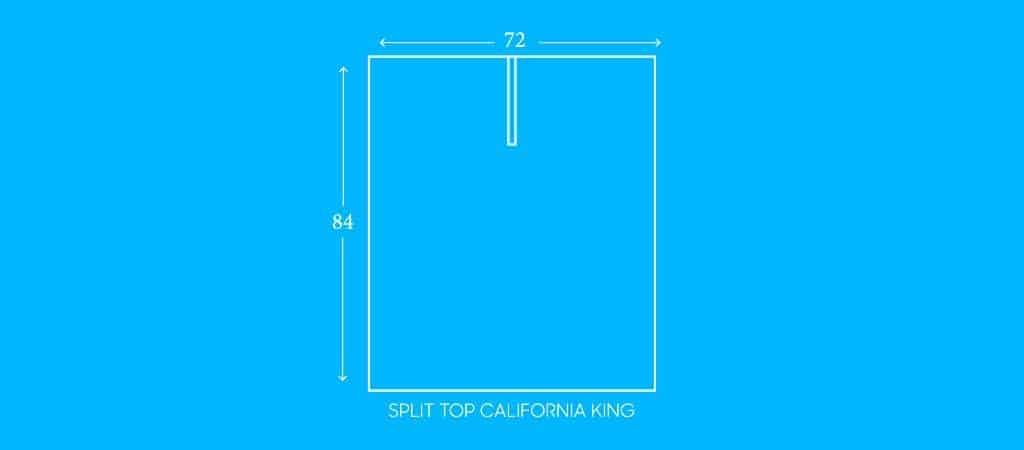 "SPLIT TOP CALIFORNIA KING, 72""W X 84""L"