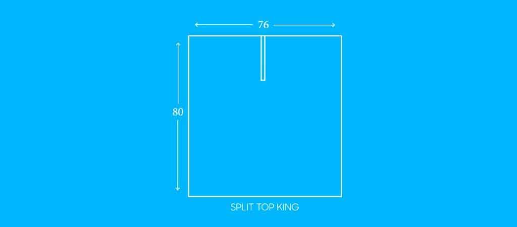 "SPLIT TOP KING, 76""W X 80""L"