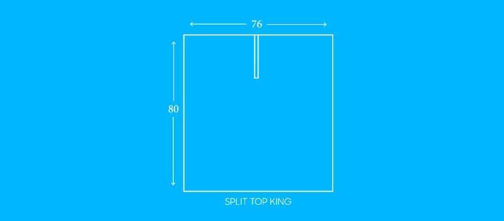 "SPLIT TOP KING, 76""W X 80""L"