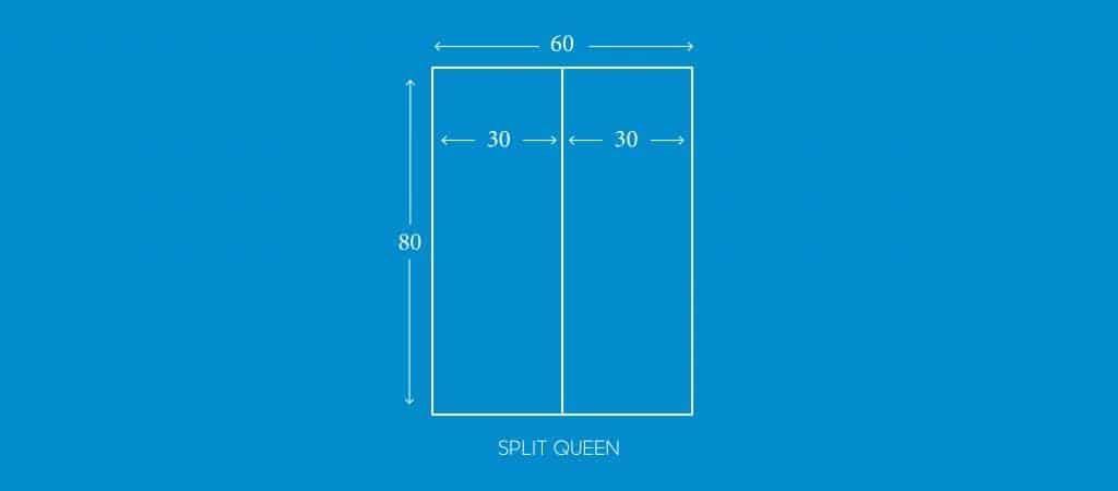 """SPLIT QUEEN, 30""""W X 80""""L"""