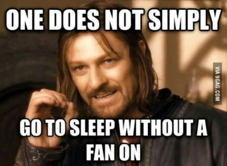 one doesn't simply go to sleep without a fan on