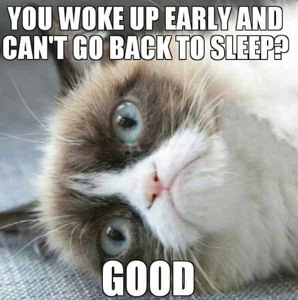 you wake up early and can't go back to sleep.. good...