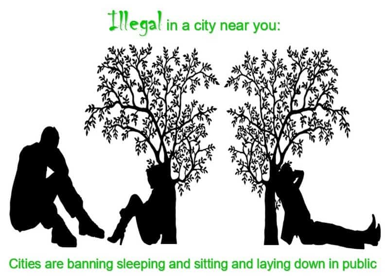 cities are banning sleeping and sitting and laying down in public